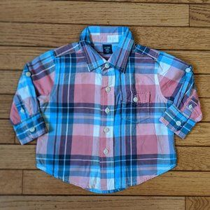 Gap Plaid Shirt Pink Blue